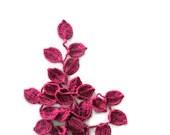 Crochet lariat scarf with Leaves in Magenta, Necklace, Pink, Feminine, Trendy, Spring, Summer, Harvest, - Iovelycrochet