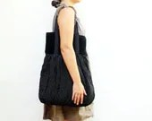Huge Pleated Black and White Polka Dot Cotton Bag - StarBags