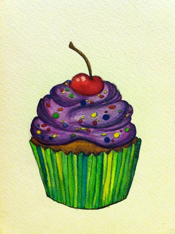 ORIGINAL Shimmer Cupcake Watercolor Painting - adamsj59