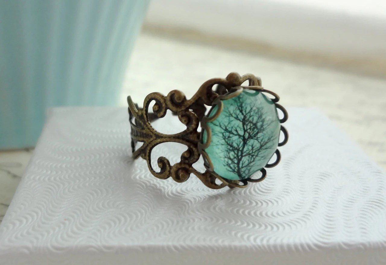Aqua Tree Filigree Statement Ring.  Adjustable.