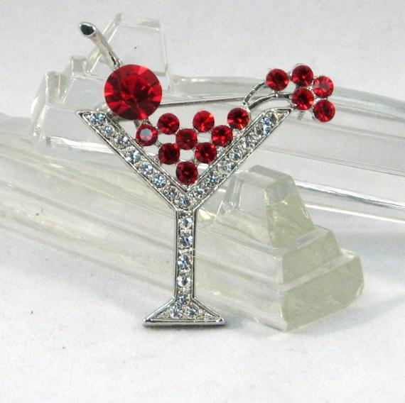 Vintage Cherry Martini Rhinestone Brooch - VintageCreekside