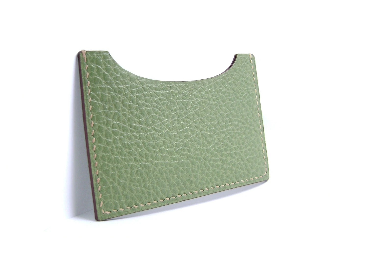 Olive Green Leather Card Holder - case, sleeve, ID, credit, debit card - wallet - mint - sakao