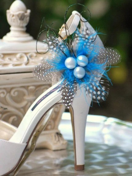 Shoe Clips Something Blue. Classy Polka Dot Feather Pearl. Big Day Bride Bridal Bridesmaid, Couture Stunning Elegant, Edgy Spring Holidays