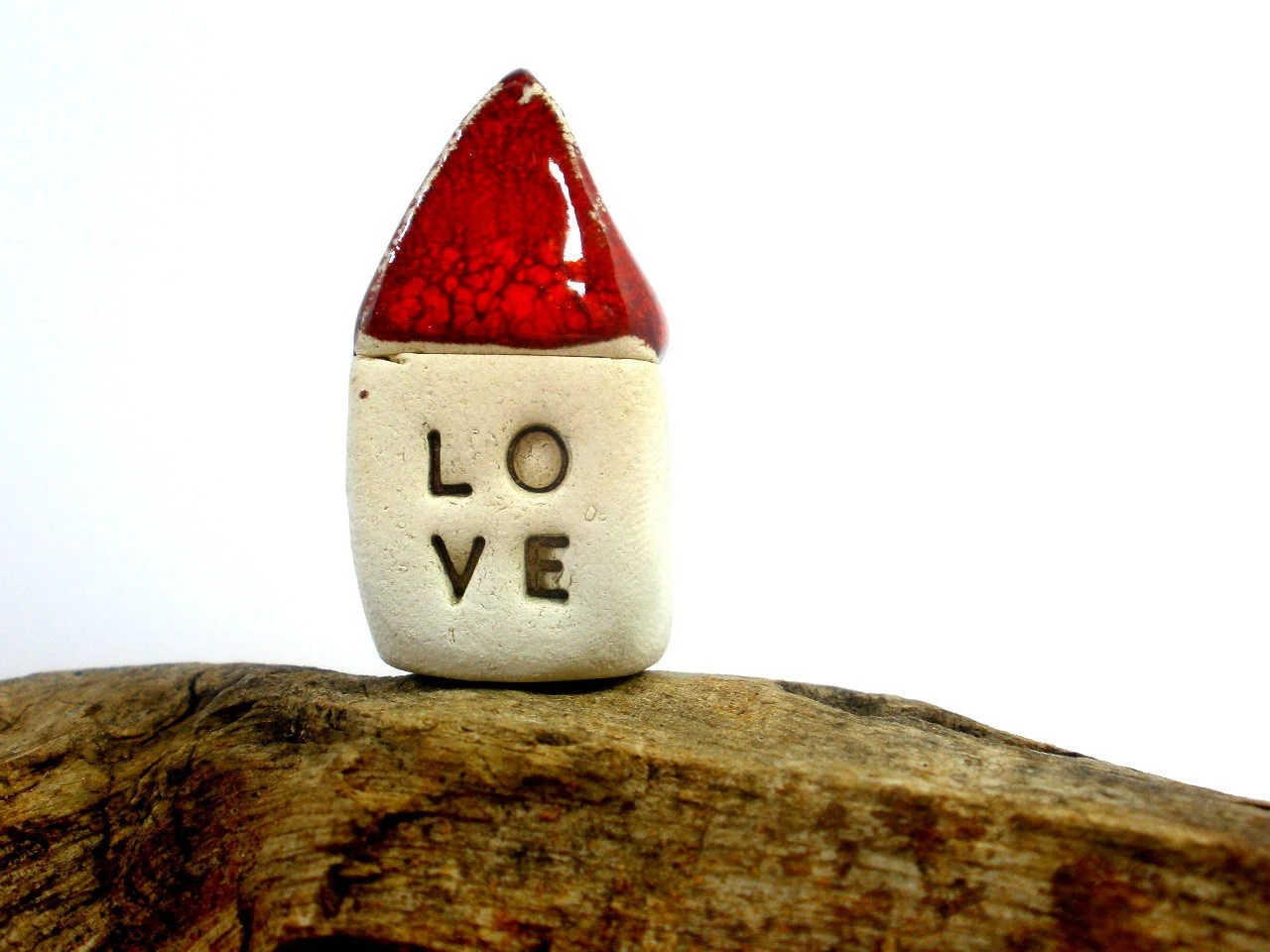 Red Love house  - miniature houses  Little rustic houses Red house Engagement gift Valentine day - orlydesign