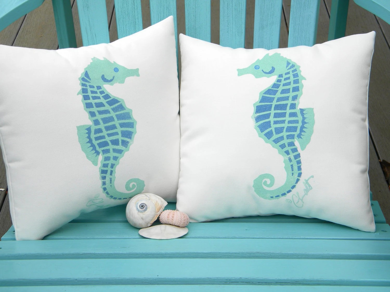 "Little Seahorses pair of indoor outdoor pillows 12""x12"" set of two coastal beach children's ocean nautical marine aquarium SCUBA reef - crabbychris"