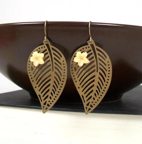 Leaf Earrings - Skeleton Leaf Jewelry - Antiqued Gold Leaves - Prdgy