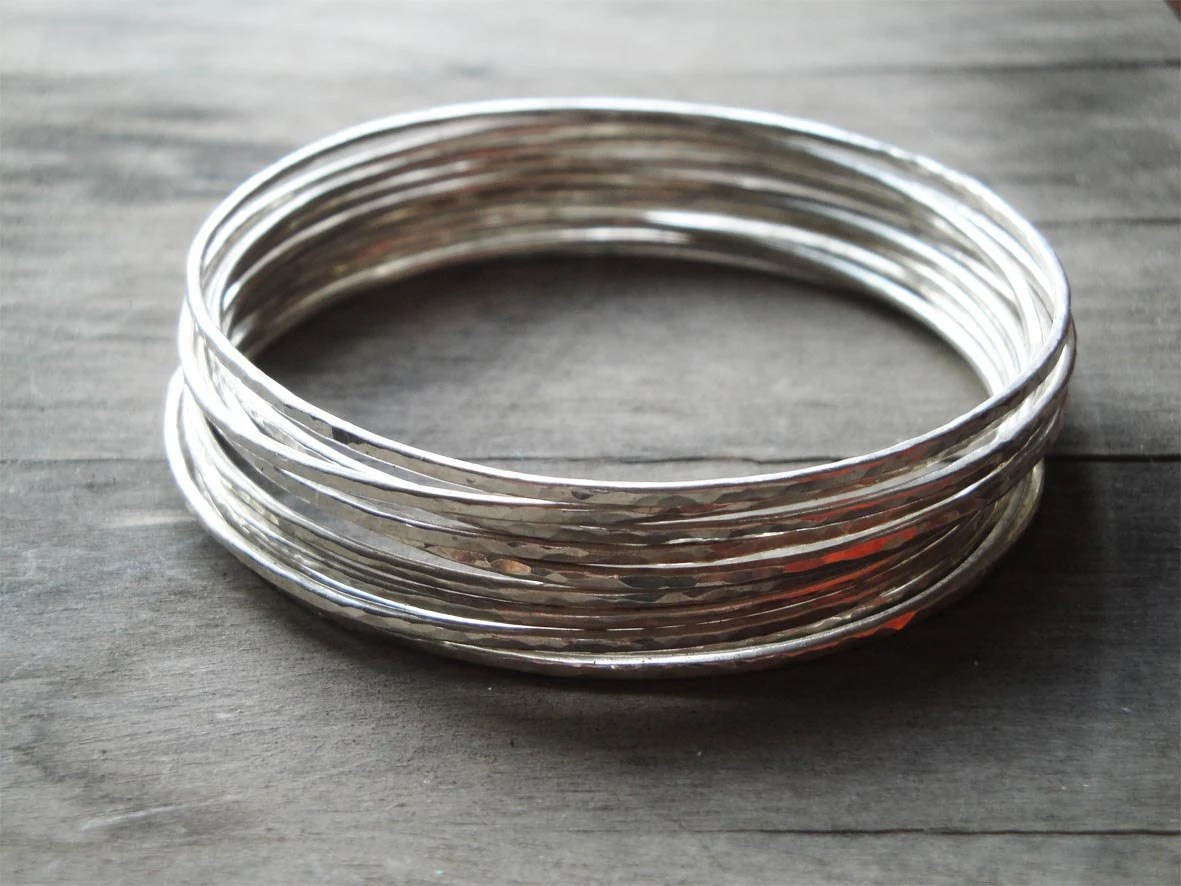 hammered sterling silver bangle bracelets: set of 10 - katerinaki1977