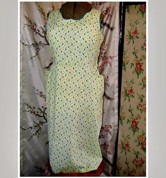 yellow blue dot large size vintage 50s dress summer sleeveless bobmshell