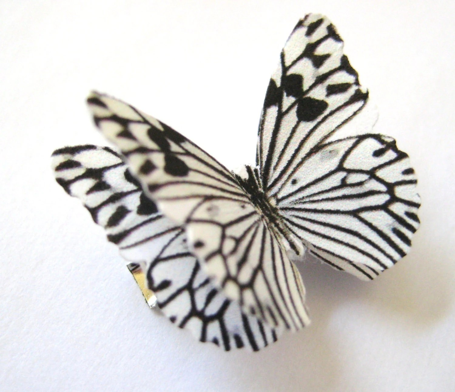 Zebra Girls Hair Clip Butterfly Costume Accessory Monochromatic Black And White