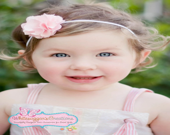 Petite Light Pink Satin Pom Pom Flower on Soft Skinny Ivory Headband - Baptism Headband - Flower Girl Headband - WhitesugarCreations