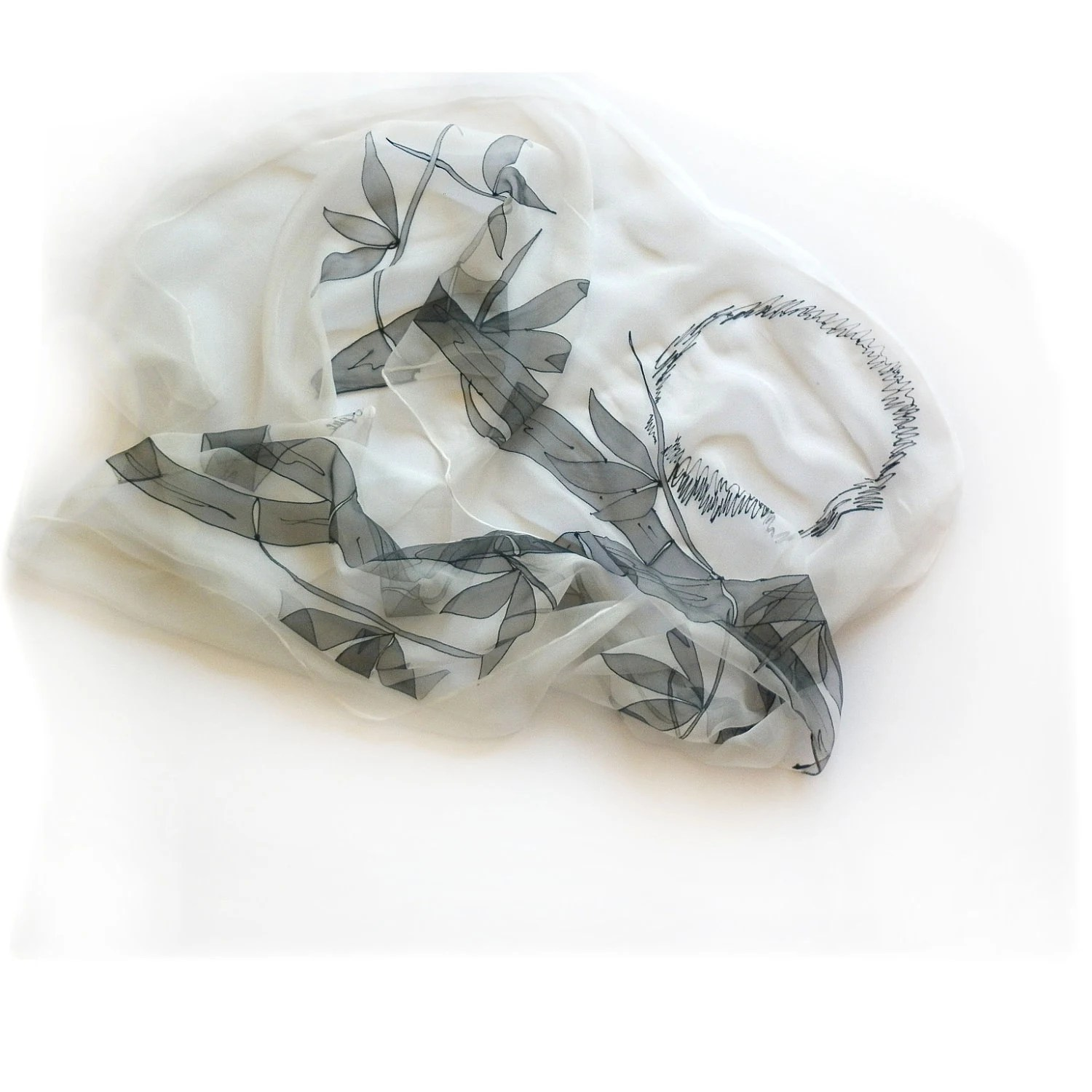 Hand Painted Silk Chiffon Long Scarf Bamboo Motifs Black and White - MKrisArt