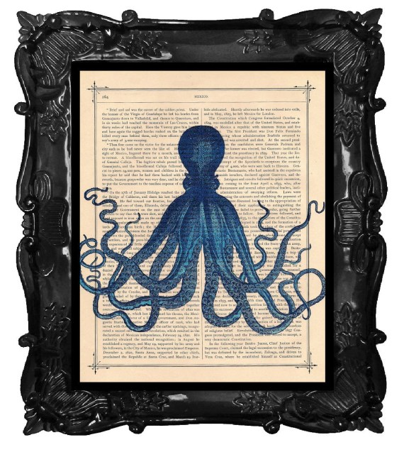 BLUE OCTOPUS Vintage Color Art Print Antique Book Page Dictionary Print - BlackBaroque