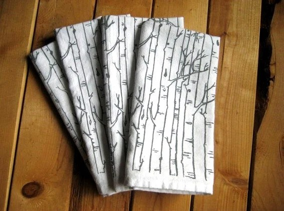 Screen Printed Organic Cotton Birch Tree Cloth Napkins - Eco Friendly Dinner Napkins - ohlittlerabbit