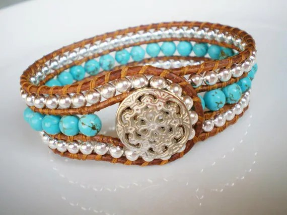 CUSTOM: Single Leather Wrap Cuff Turquoise Magnesite Silver Silver Plate