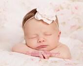 soft pink baby flower headband, Newborn Headband, Baby Headband, Pink Small FLower Headband - BambaroosBoutique