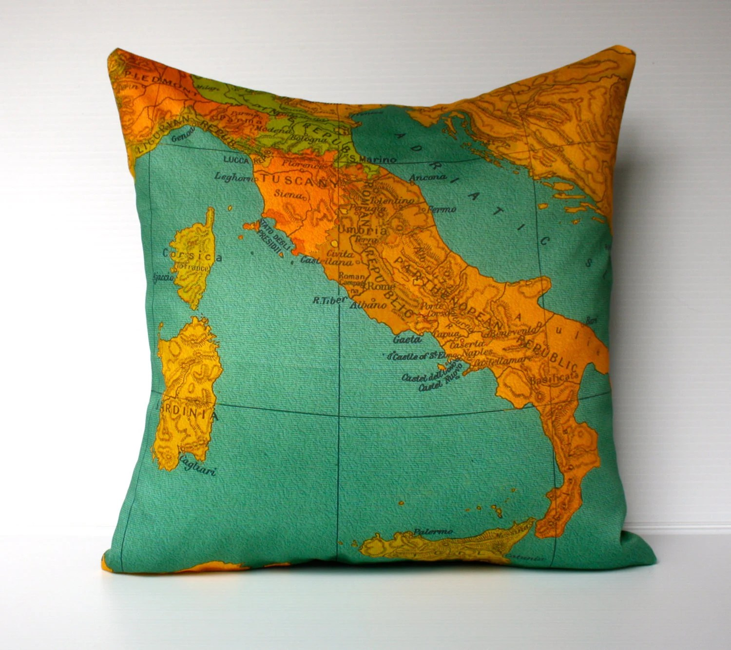 vintage map ITALY cushion, map pillow cover, organic cotton, 16 inch , 41cm