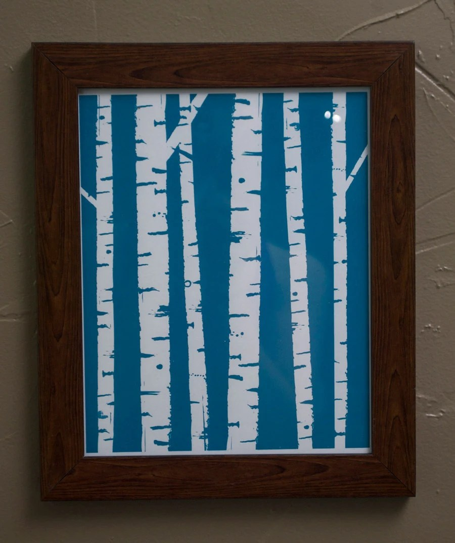 Birch Trees 8x10 ScreenPrint- Limited Edition in Blue and Brown - HeartandCrafts