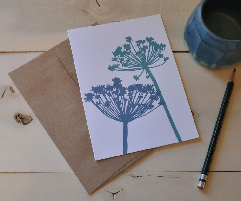 Queen Anne's Lace in Seafoam Green and Cornflower Blue - kathrynkellyworkshop