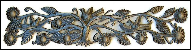 "Birds and Flowers Haitian Recycled Steel Drum Metal Wall Hanging - 8"" x 34""-JJ-610"