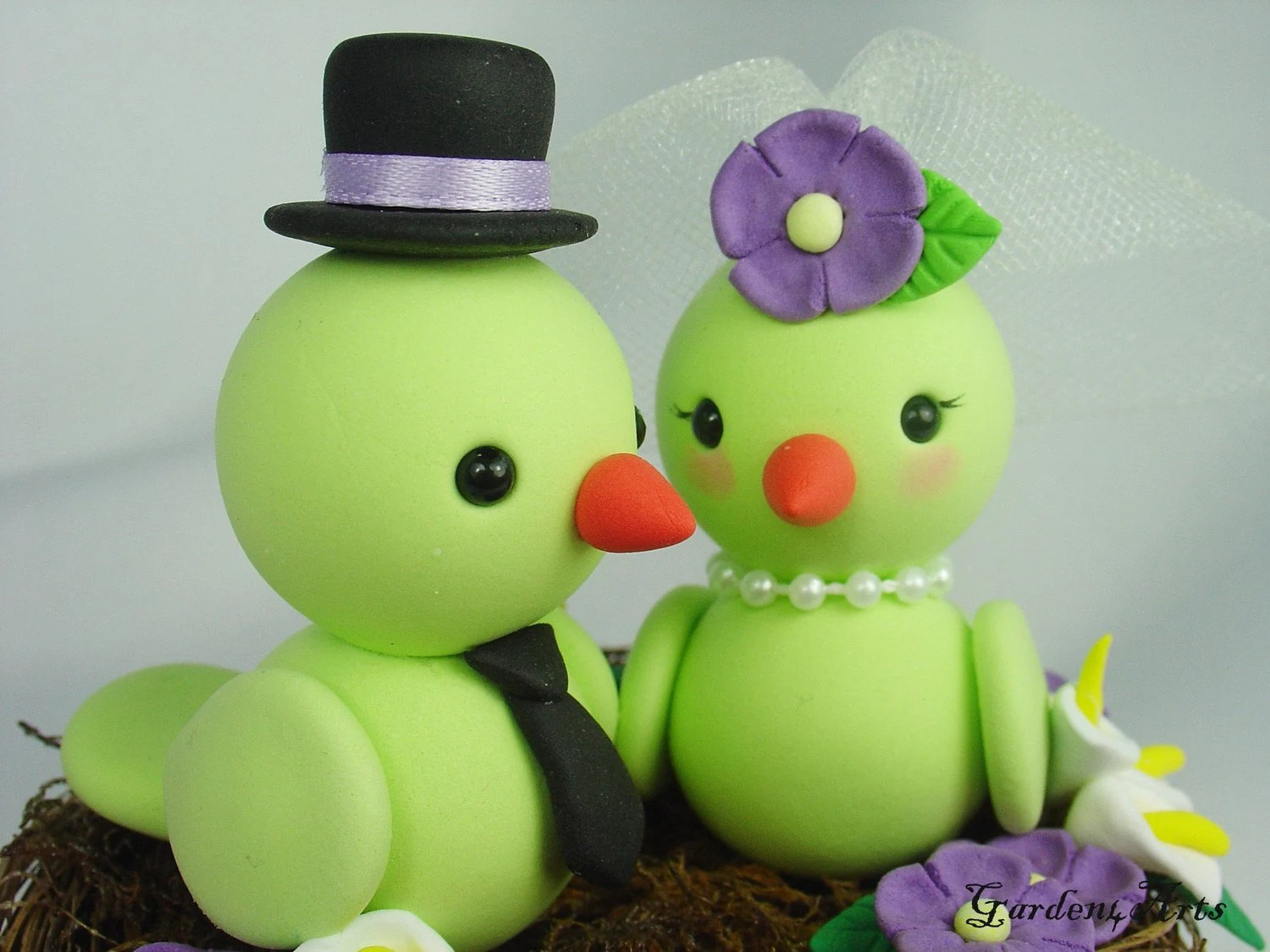 Customise Birds Love Wedding Cake Topper with Floral Nest Choice of color - Garden4Arts