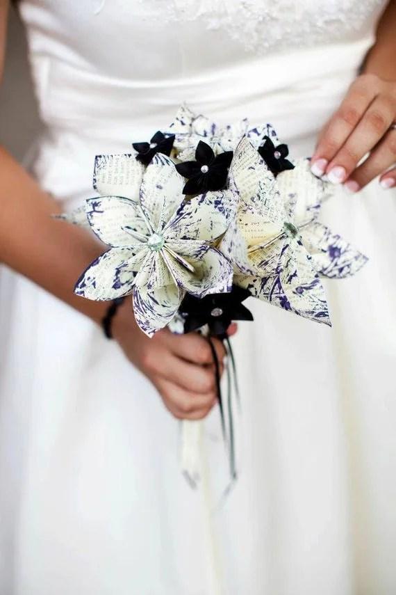 Paper Wedding Bridal Bouquet- A Midsummer's Night Dream, 10 inch, 18 flowers, handmade, one of a kind, origami, destination wedding