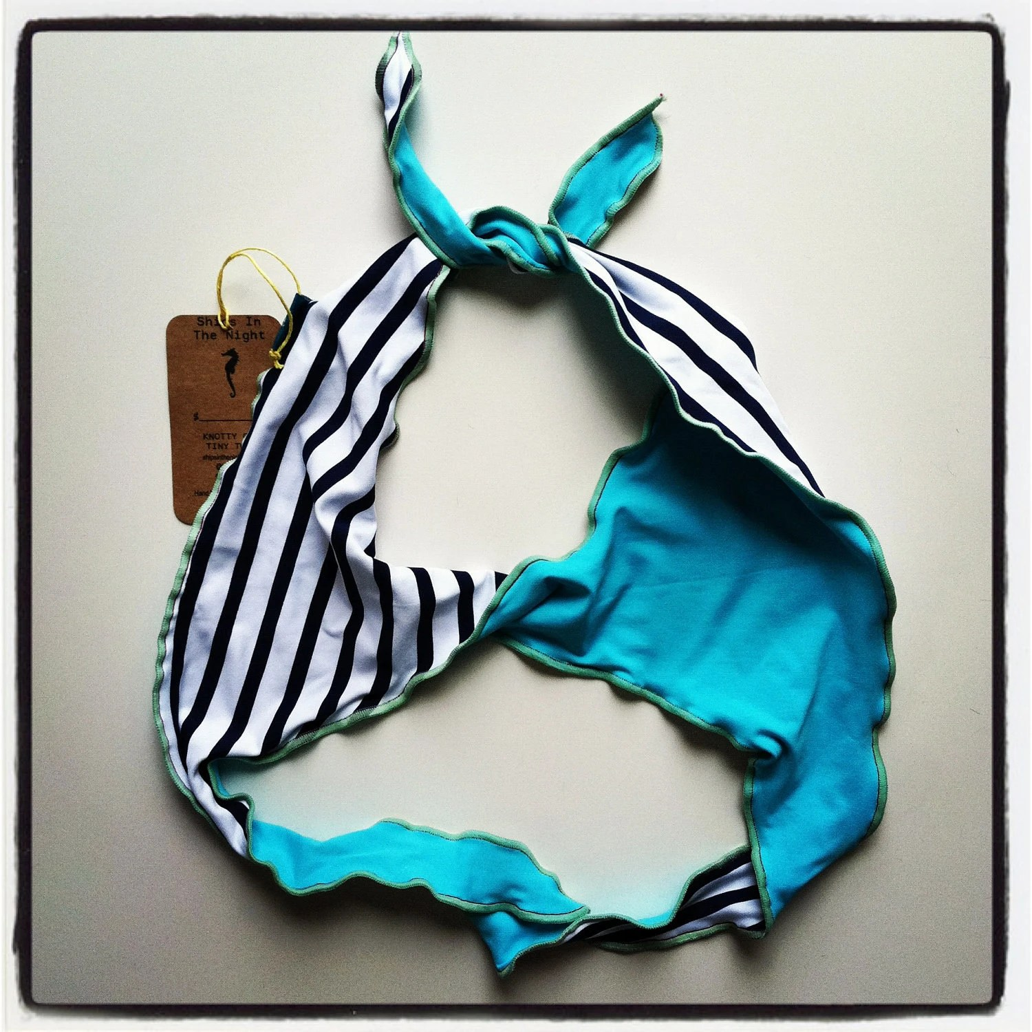 Teal & Nautical Stripes Tiny Twist Multi-FUN-ctional Brazilian Bikini