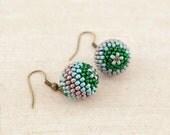 Summer Boho Earrings - Peacock Ball Earrings, Emerald Green Mint Lilac, Summer Fashion, Woodland Earrings, Nature Inspired, Boho Jewelry - PaciorkyArtStudio