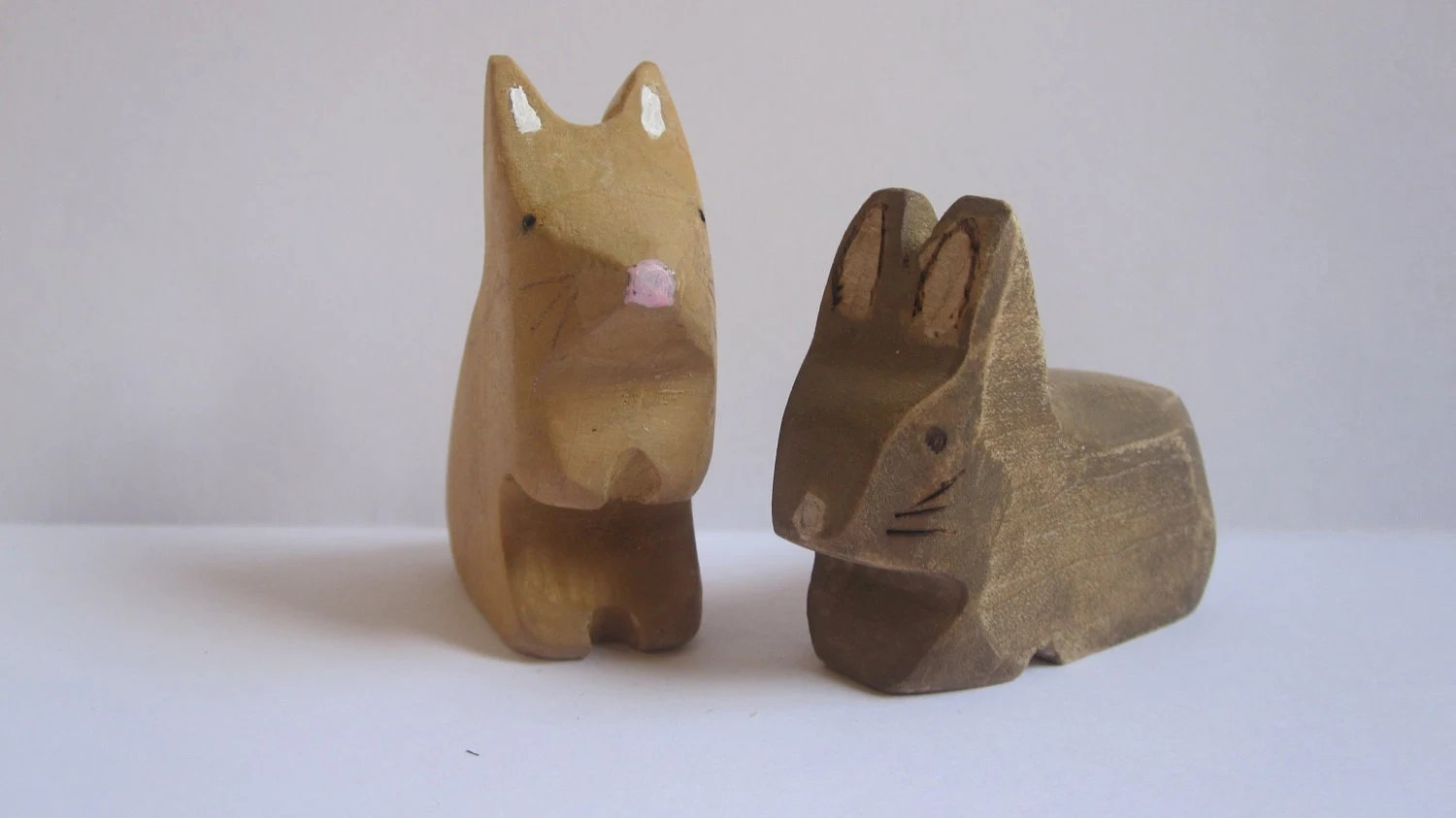 Wooden bunnies, waldorf wooden rabbit - Halushka