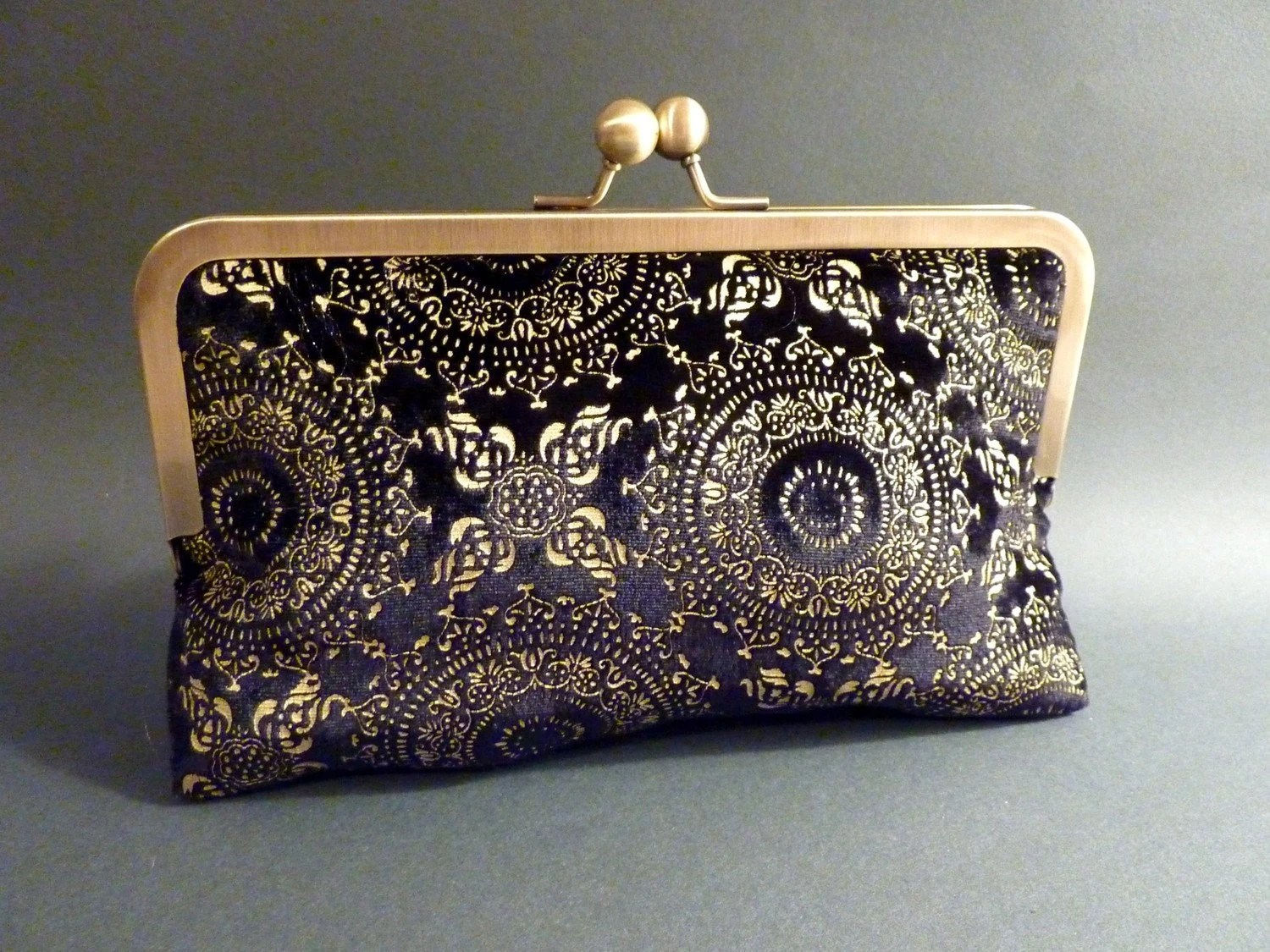 Black Velvet and Gold Clutch Bridal Bridesmaid Holiday Christmas New Years Eve - BelleJouJou