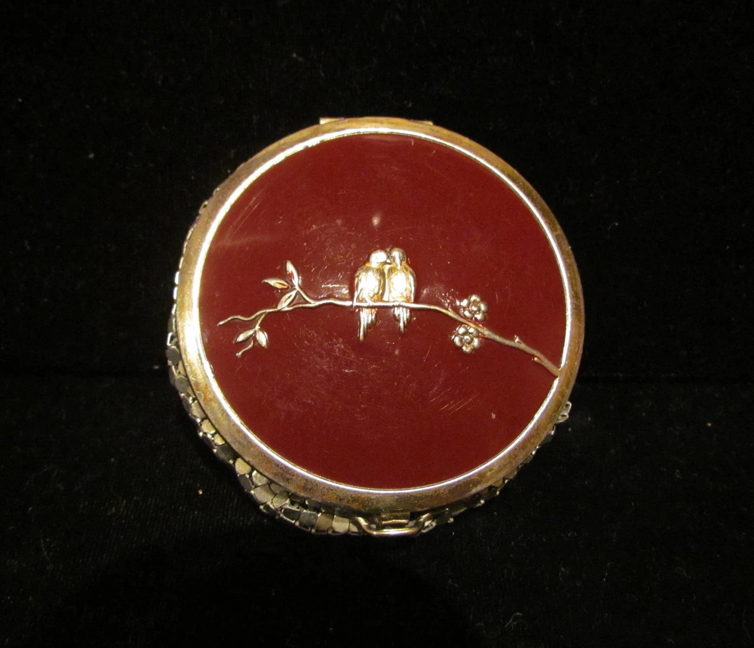 Vintage Evans Compact Silver Mesh Compact Enamel Compact Powder Compact Mirror Compact Lovebirds Compact