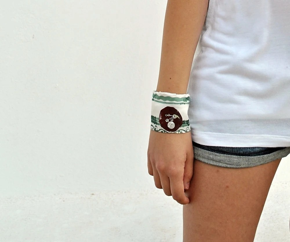 CIJ sale- Cuff bracelet-Green and brown earthy fabric - woodlands - Ready to ship-FREE SHIPPING - zdrop