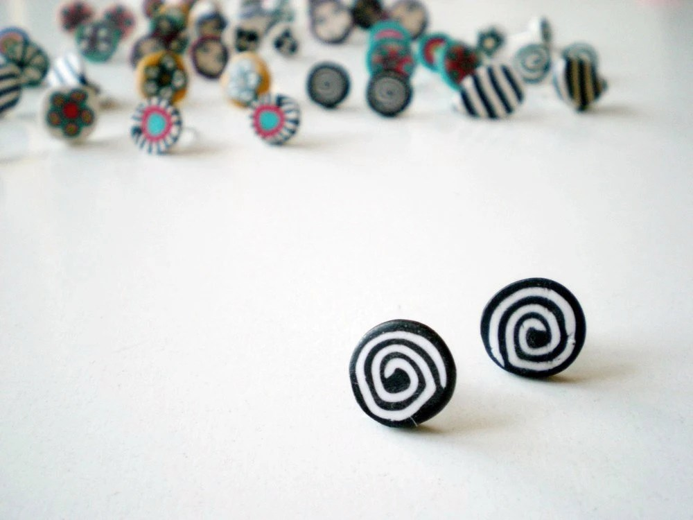 Black and white Spiral post earring-polymer clay-jelly roll- Free shipping - zdrop