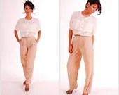 SALE Vintage Soft Pink Leather High Waisted Trousers with pleats and pockets. Size 8 - AneyeforVintage