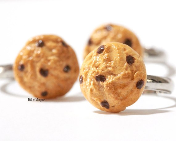 Chocolate Chip Cookie Ring - cute, kawaii fake miniature food jewelry - BitOfSugar