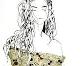 art print, girl with kelp and seaweed hair, green, black and white - BriannaReaganArt