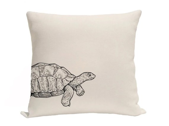 Turtle Pillow Covers, Decorative Pillows, Throw Pillows, Accent Pillows, Screenprint Pillow Covers, 16 x 16 Inches, Black and Natural - gracioushome