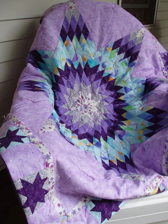 On SALE: Bethlehem Star Crib Quilt in shades of purple 30% off