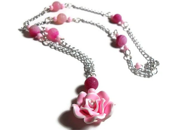 Pretty Pink Rose Necklace - Glamour365