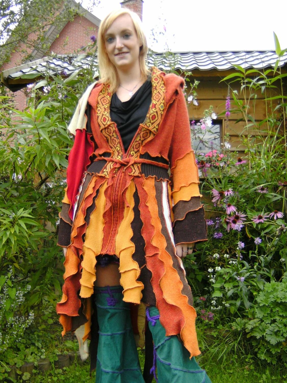 brown orange sweater coat elf jacket jumper pixie sweater goa hoodie festival gypsy vest reconstructed