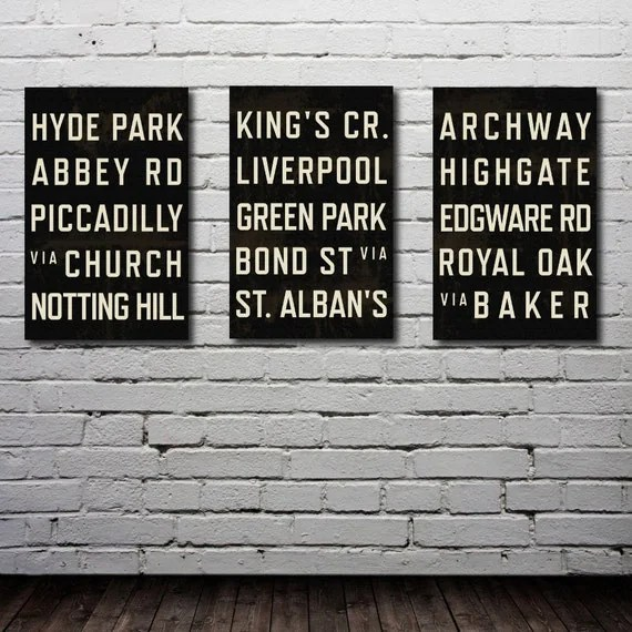 London Subway Art. Typography Print. Olympics. City Map. Poster. Modern Home Decor.  Set of 3 - 11x17