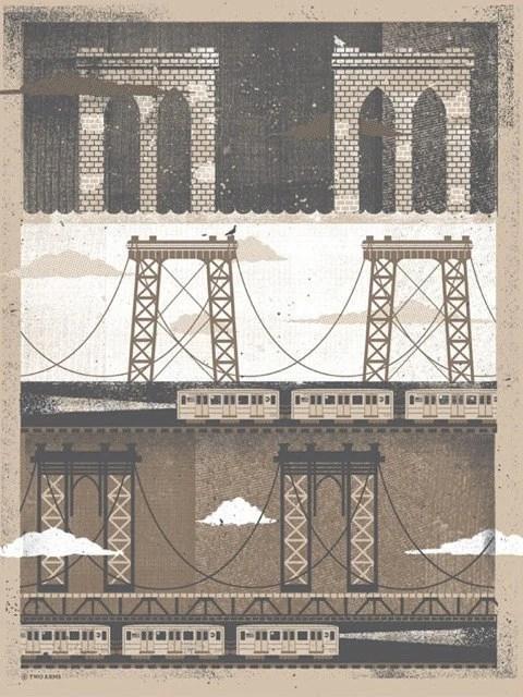 "NYC Bridges Art Print - Silkscreen Artprint 18"" x 24"" - twoarms"