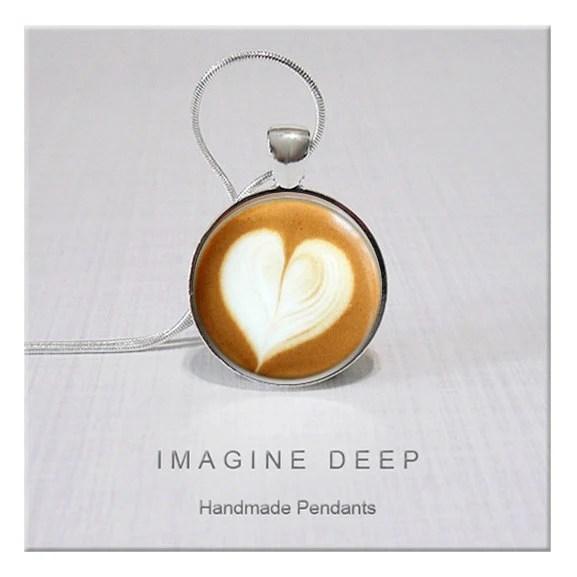 Pendant - Tan Cream - Heart - Coffee Latte - High Quality Handmade Pendant - Latte Froth Heart (051) - ImagineDeep