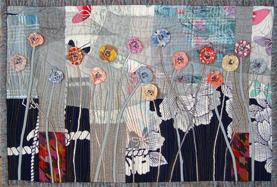 Garden in the Night, ART QUILT, Wall Decor, Fine Textile Art