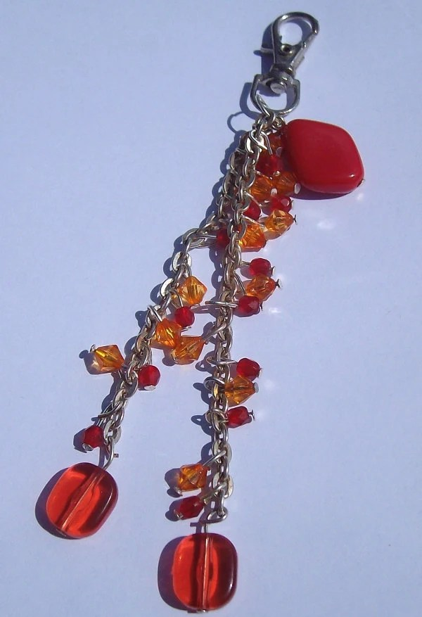 Bead and Chain Bag Charm in Red and Orange