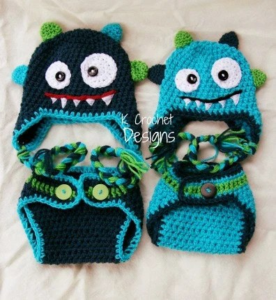 FREE SHIPPING-Monster hat-Crochet baby hat-Hat and diaper cover set-Photography prop-boys or girls