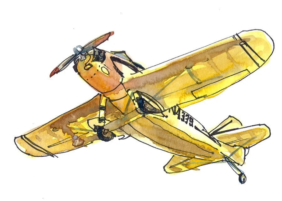 Vintage Airplane in Mustard yellow, A Sketch - 5x7 print - SketchAway