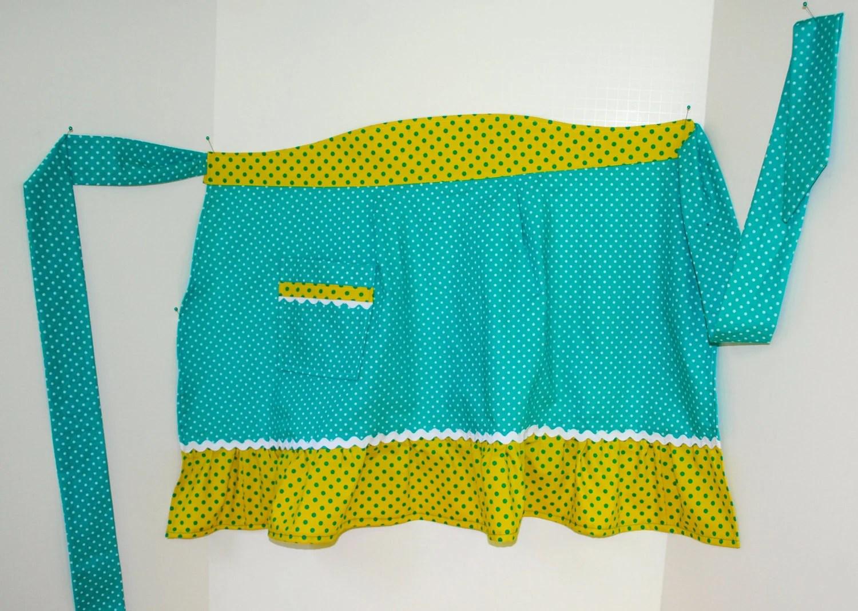 Half Apron in Aqua and Yellow Polka Dots - AuntieMsOriginals