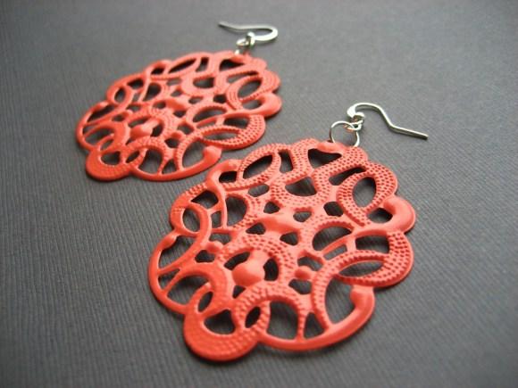 Summer Coral Large Filigree Earrings