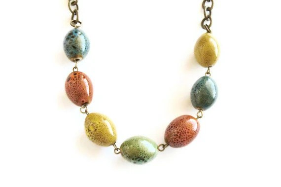 Multi-colored ceramic beaded necklace