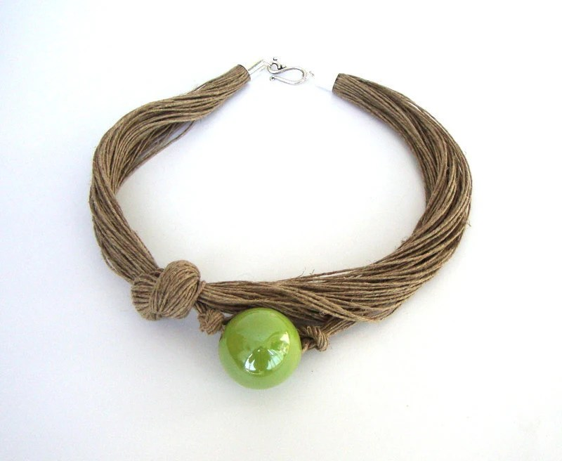 Lime green ceramic necklace, linen necklace, eco friendly jewelry, linen choker, fall fashion jewelry - dekkoline